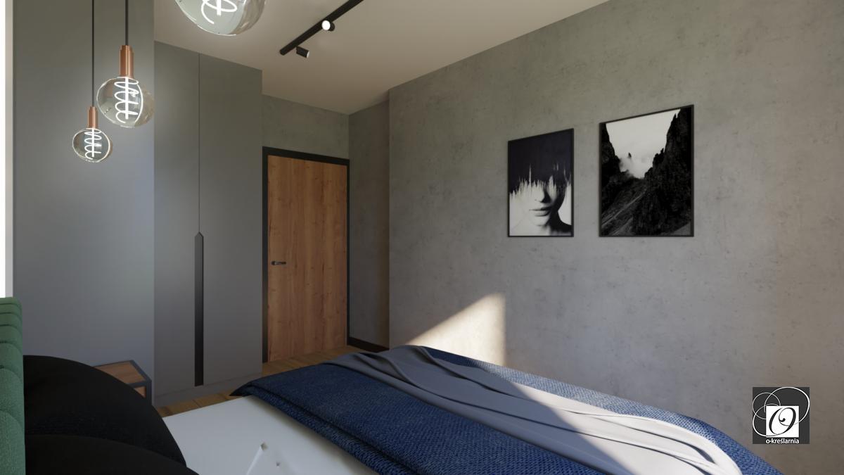 Sypialnia z betonową ścianą