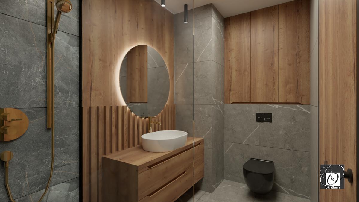 Stylowa łazienka z drewnem i szarym marmurem