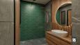 Designerska łazienka z zieloną ścianą