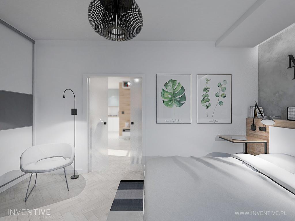Sypialnia w stylu loft w kolorze białym