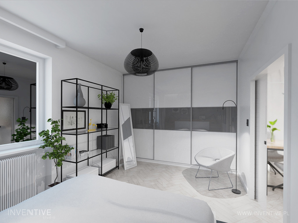 Sypialnia z szafą z przesuwnymi drzwiami