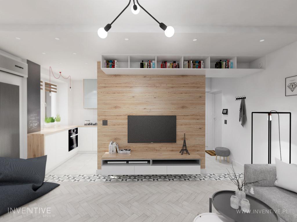 Salon ze ścianą z drewna i telewizorem