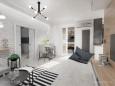 Salon w stylu skandynawskim ze ścianą z białej cegły