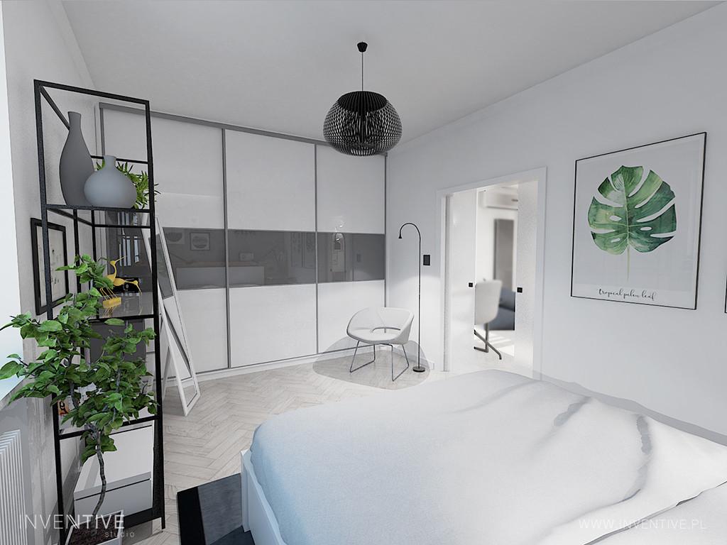 Szaro-biała sypialnia