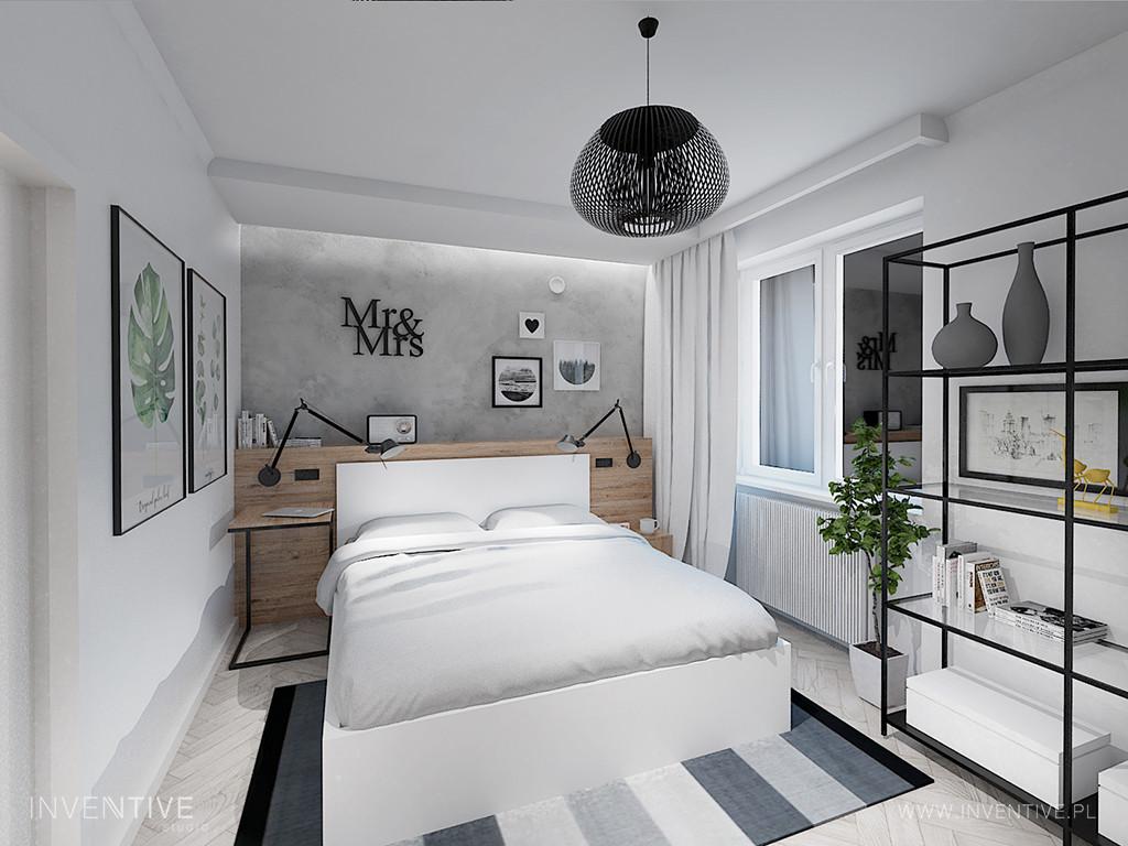 Sypialnia z łóżkiem z zagłówkiem