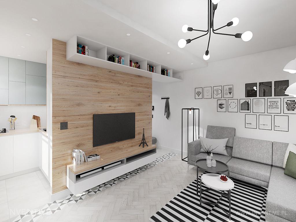 Loftowy salon z drewnianą ścianą