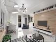 Nowoczesny salon w kolorze szaro- białym