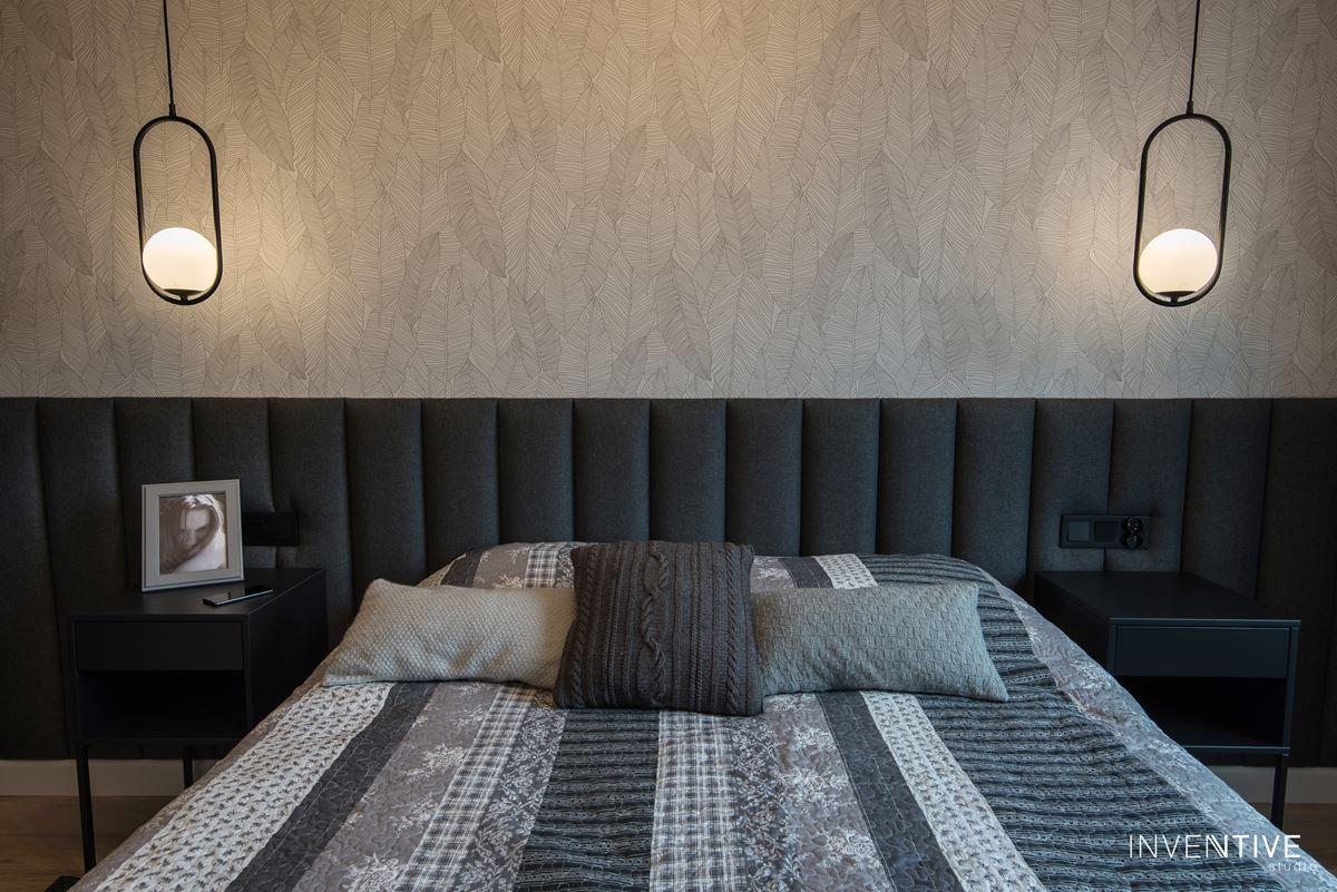 Projekt sypialni z tapicerowaną ścianą