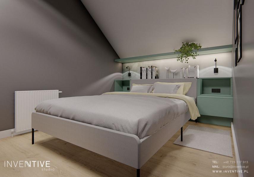 Sypialnia ze skośną ścianą