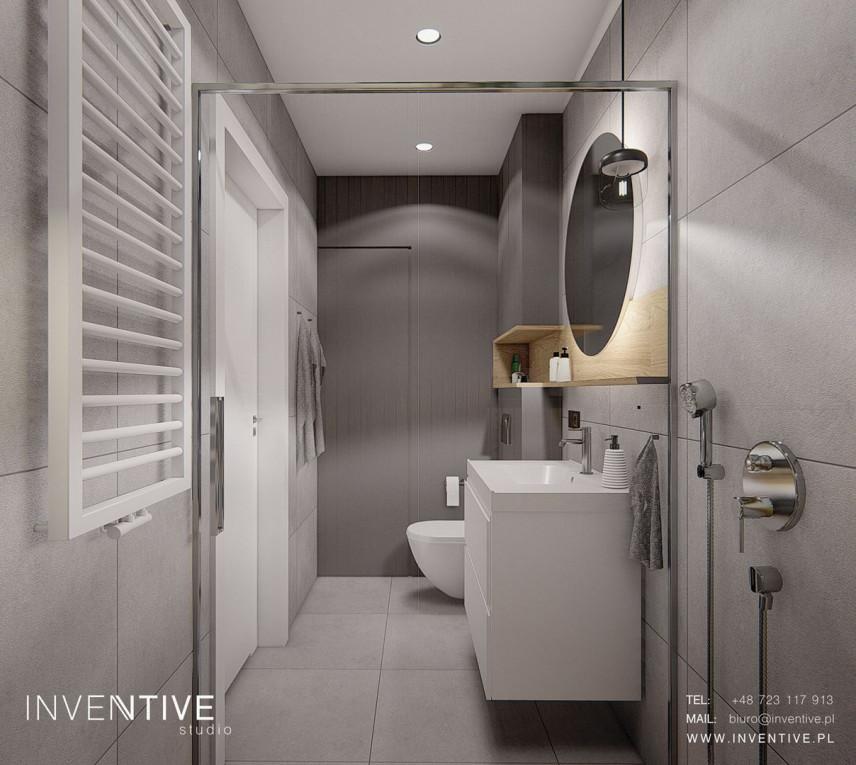 Szara łazienka z betonowymi kaflami