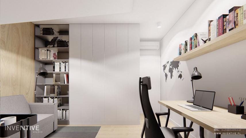 Domowe biuro z elementami drewna