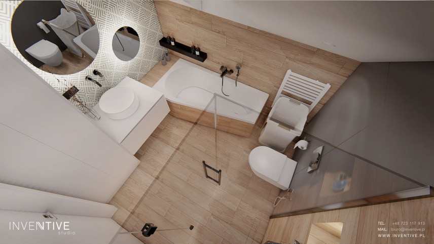 Łazienka w stylu scandi- rzut z góry