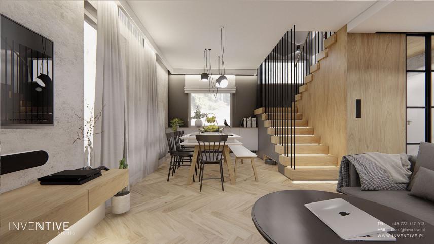 Salon z jadalnią i ze schodami