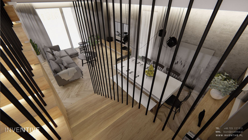 Widok na salon w stylu scandi-loft