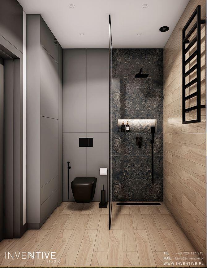Projekt łazienki z czarną muszlą klozetową