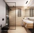 Łazienka z drewnianą szafką wiszącą