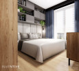 Projekt małej sypialni w zabudowie