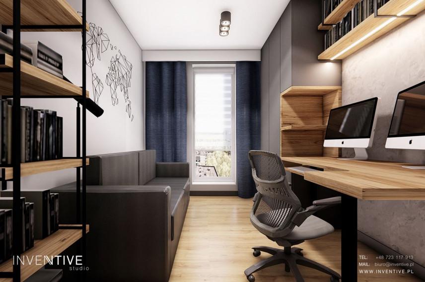 Projekt pokoju przeznaczonego do pracy w domu z krzesłem obrotowym