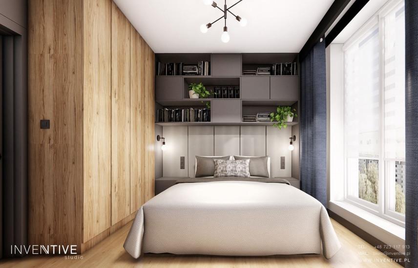 Projekt sypialni z dużą drewnianą szafą w stylu loft