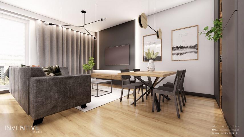 Projekt salonu z jasną podłogą