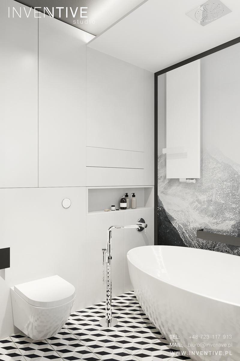 Projekt łazienki z czarno-białą podłogą
