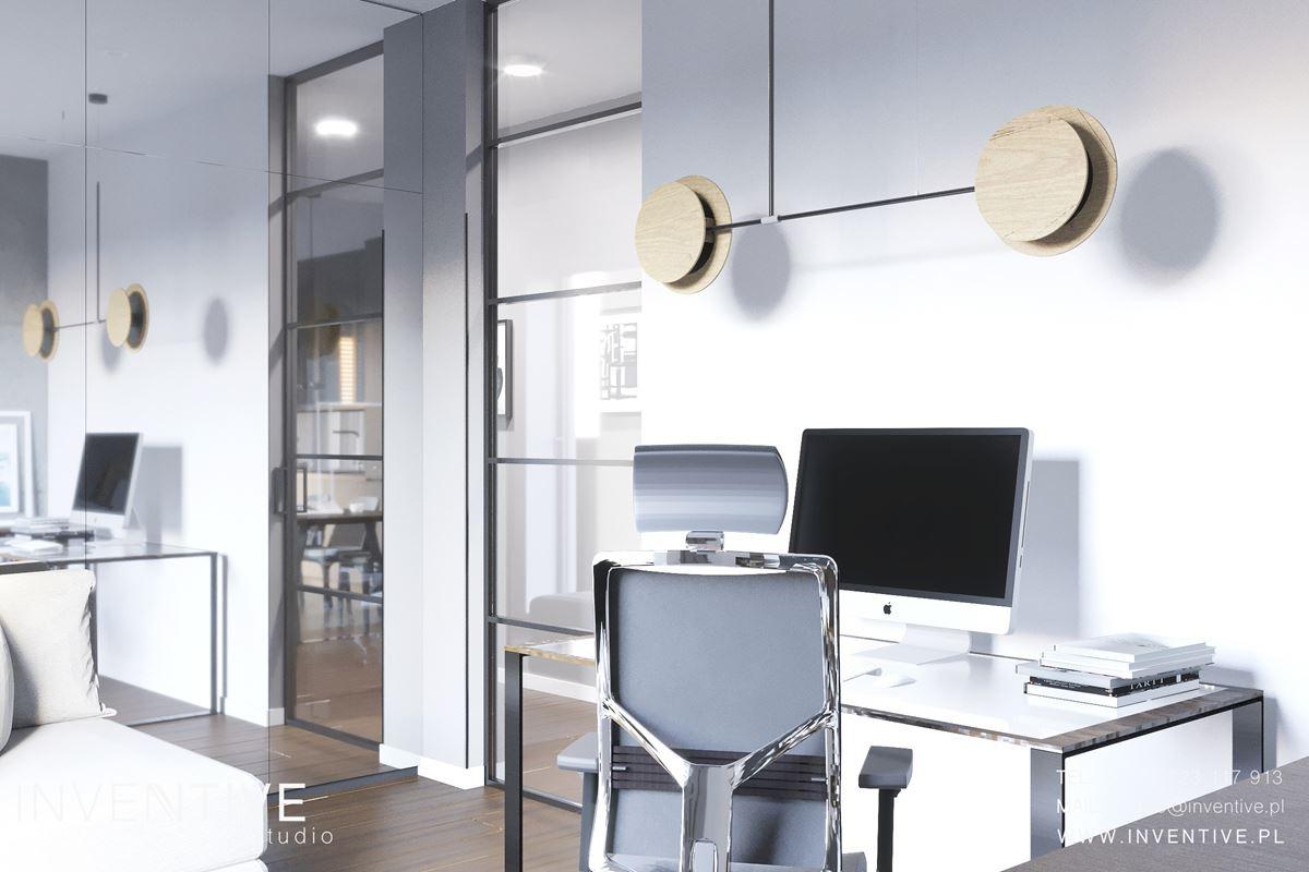 Projekt biura w domu z białymi ścianami