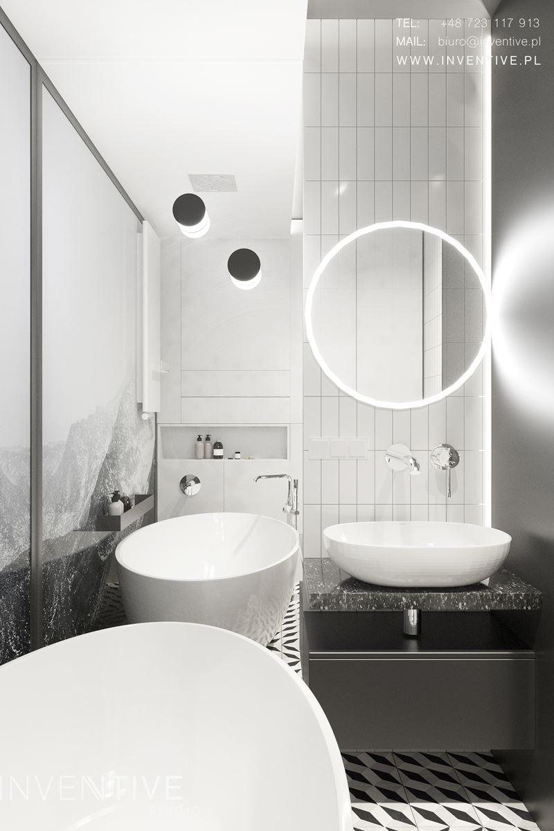 Projekt łazienki z białymi płytkami
