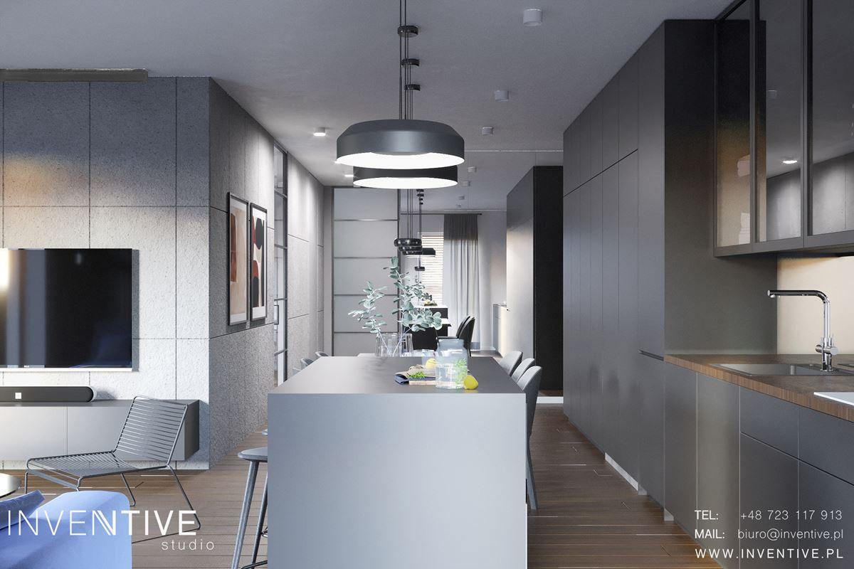 Projekt aneksu kuchennego połączonego z salonem