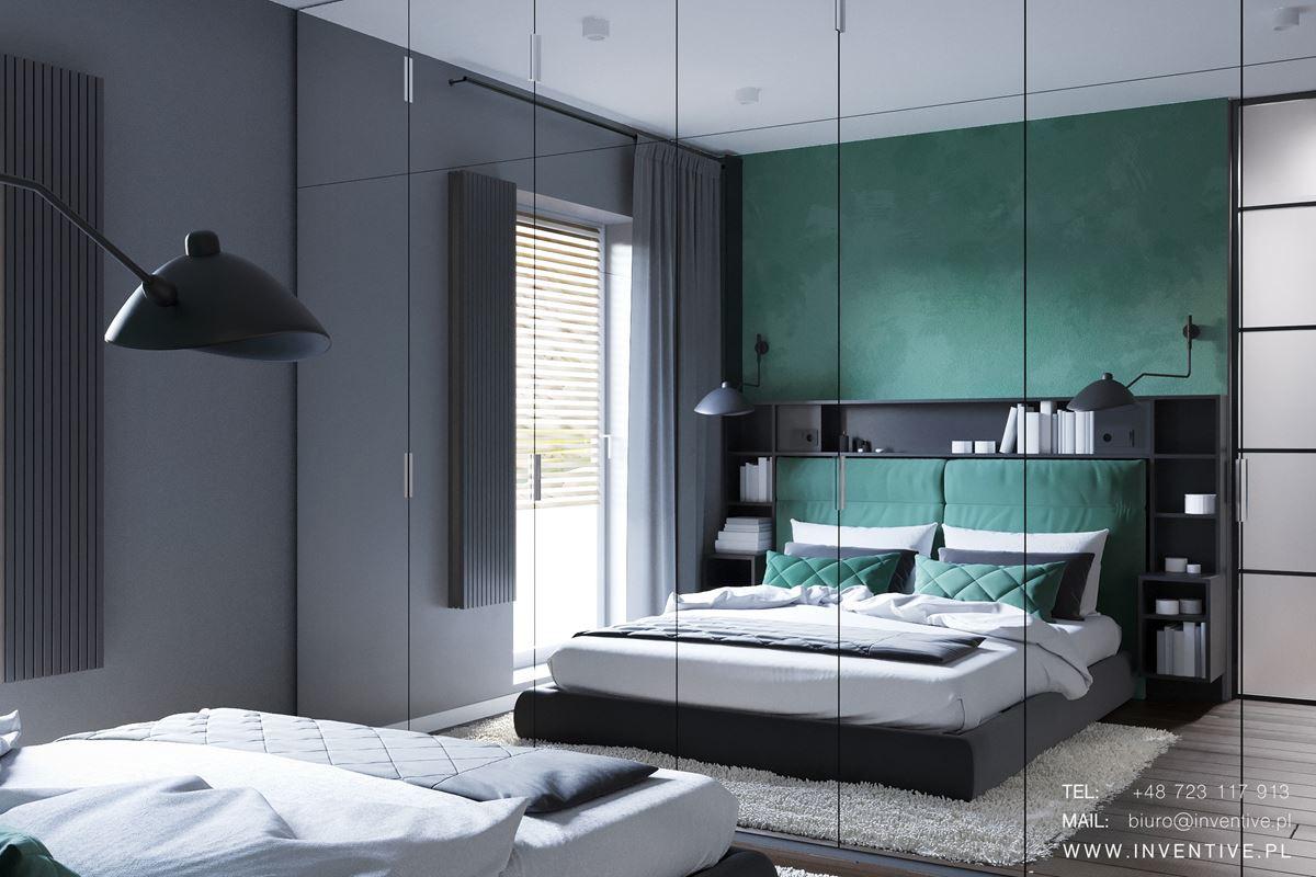 Projekt sypialni z zieloną ścianą