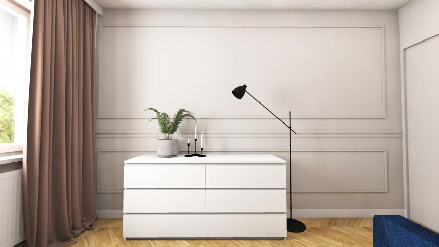 Aranżacja sypialni z białą komodą