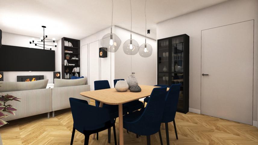 Salon w stylu nowoczesnym ze sztukaterią na ścianie