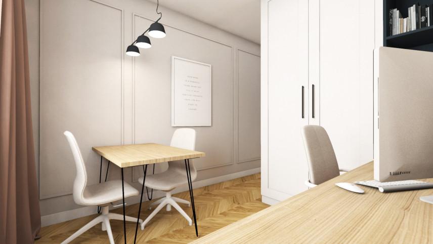 Projekt pokoju przystosowanego do pracy z drewnianym biurkiem
