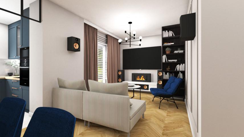 Aranżacja salonu z kominkiem i telewizorem na ścianie