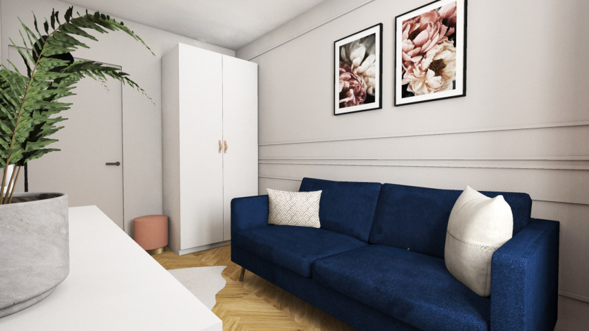 Aranżacja pokoju z białą szafą