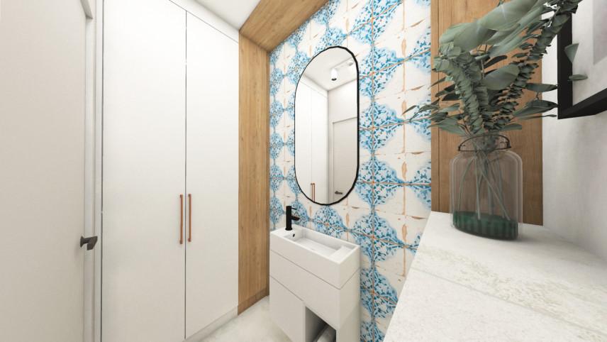 Łazienka w stylu nowoczesnym z białymi płytkami ze wzorem