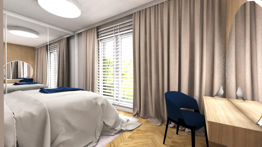 Sypialnia w stylu nowoczesnym z szafą na całą ścianę