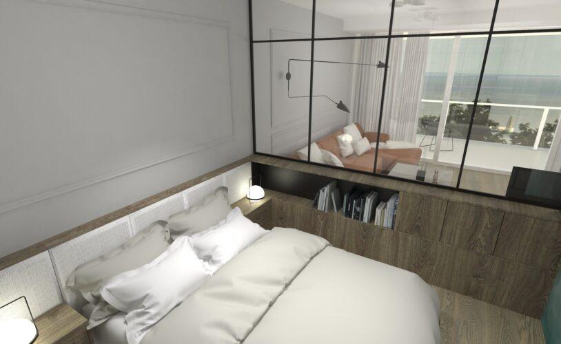 Sypialnia z przeszkloną ścianą