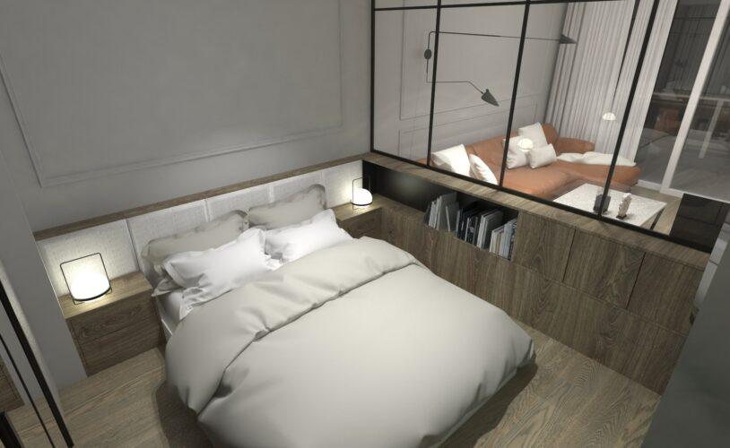 Minimalistyczna sypialnia w kolorze szarym