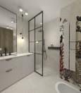Stylowa łązienka z prysznicem typu walk-in