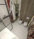 Autorska łazienka z grafikami roślinnymi na ścianie