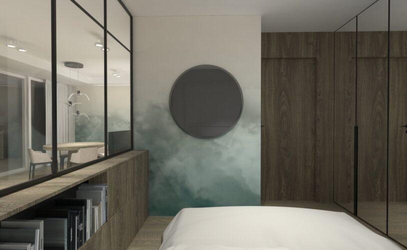Sypialnia z przeszkloną ścianą i okrągłym lustrem