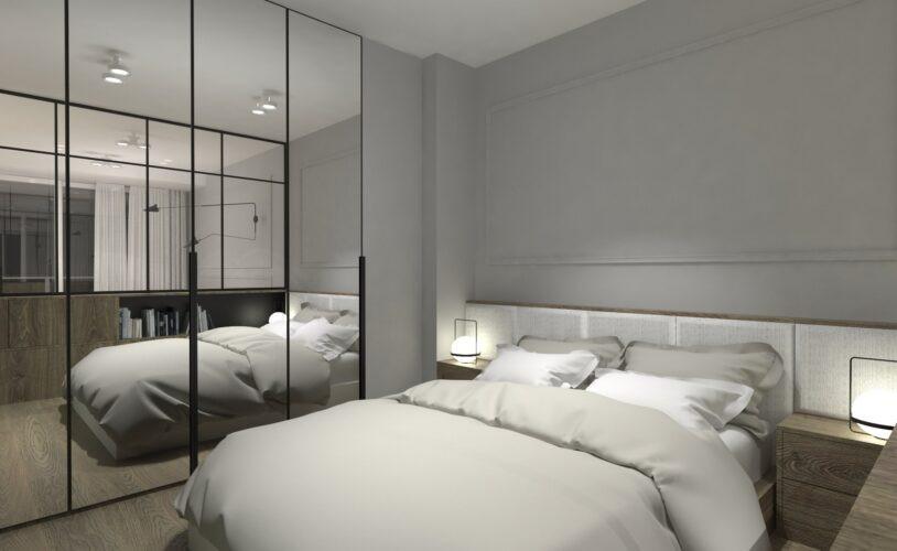 Szara sypialnia z lustrzana szafą