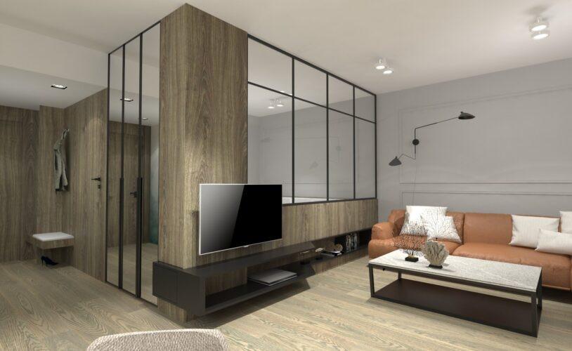 Salon z drewnianą ścianą i szkłem