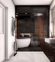 Projekt łazienki z czarnymi, dużymi płytkami na ścianie