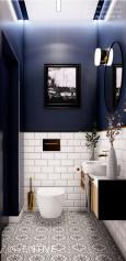 Projekt małej łazienki z muszlą wiszącą