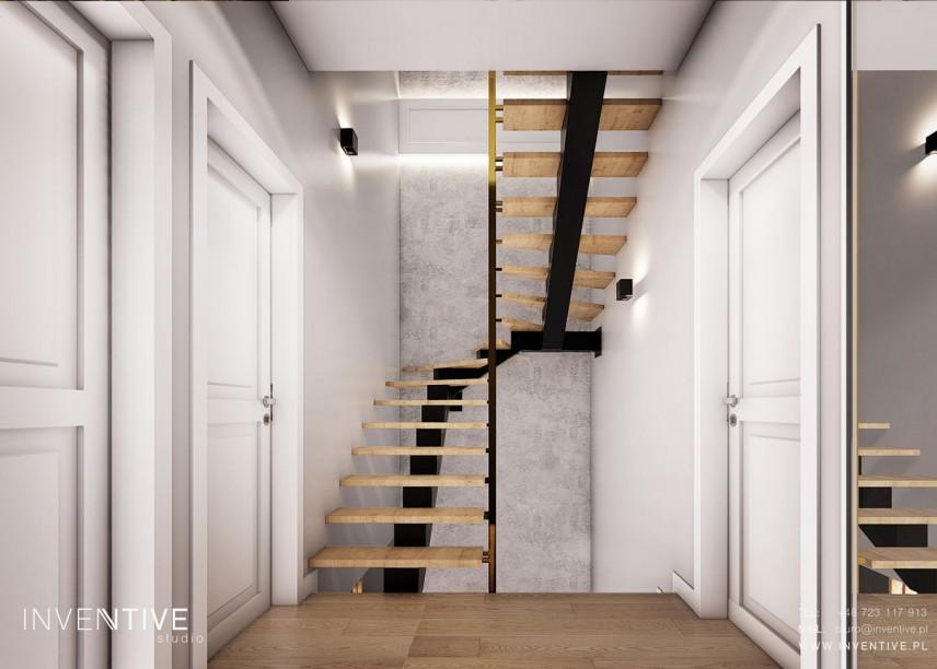 Projekt domu z drewnianymi schodami
