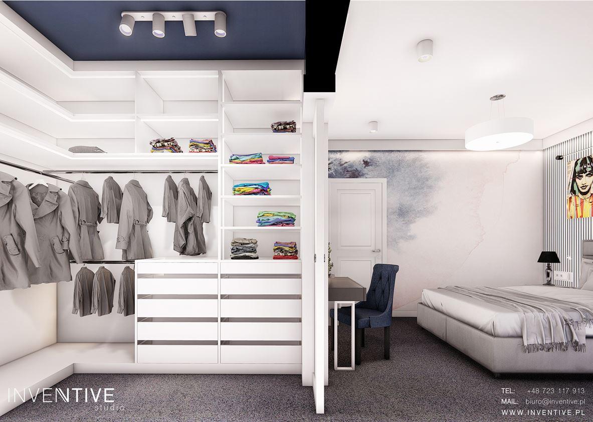 Aranżacja sypialni z garderobą otwartą