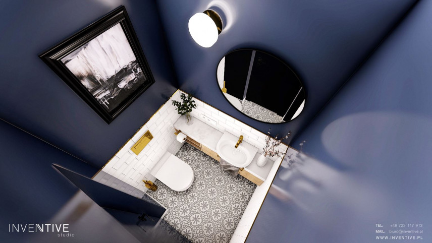 Projekt  łazienki z biało-czarnymi płytkami na podłodze