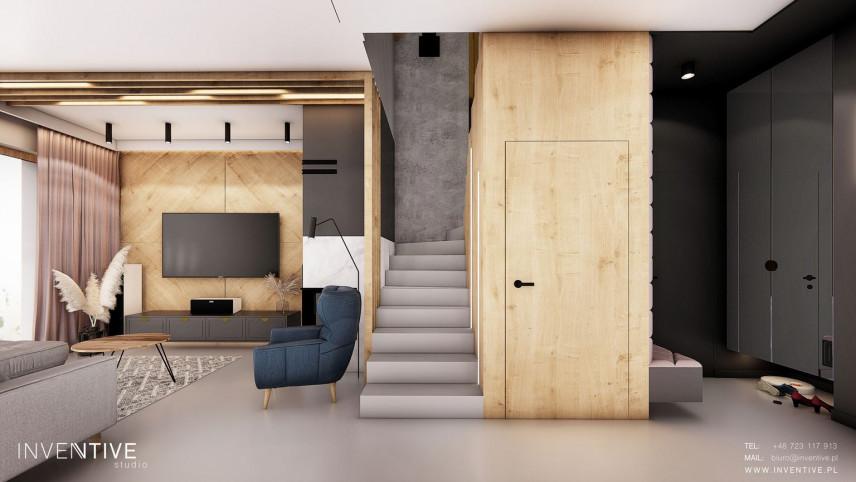 Projekt salonu ze schodami