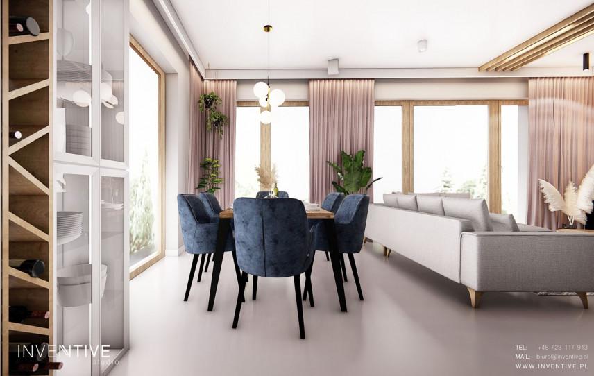 Jadalnia w salonie w stylu nowoczesnym
